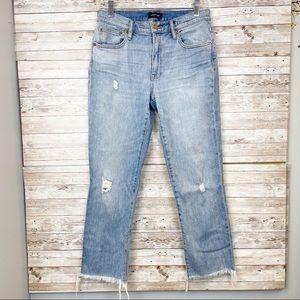 J. CREW Slim Broken-In Boyfriend Jeans Frayed Hem